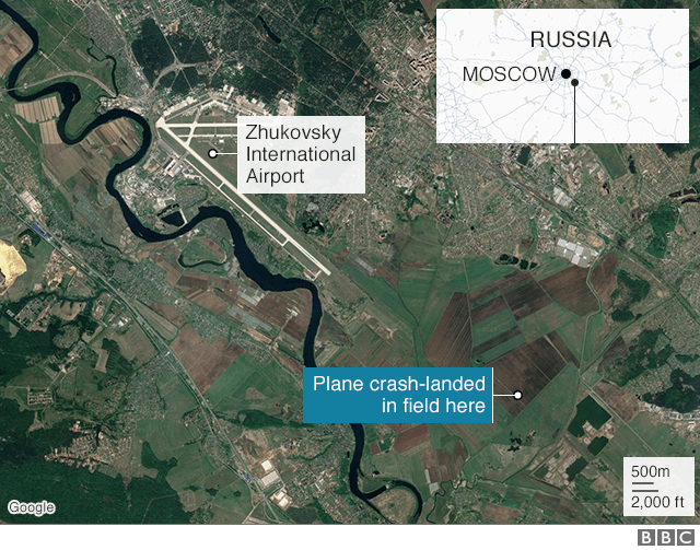 A map shows the location of the crash-landing