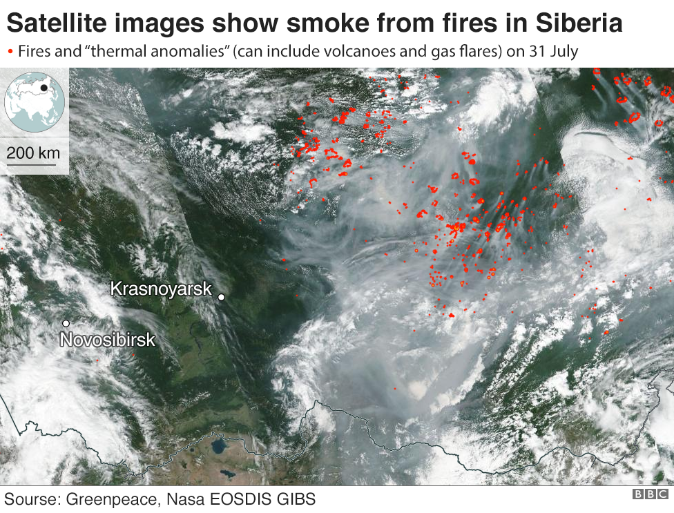 Satellite images of wildfires in Russia
