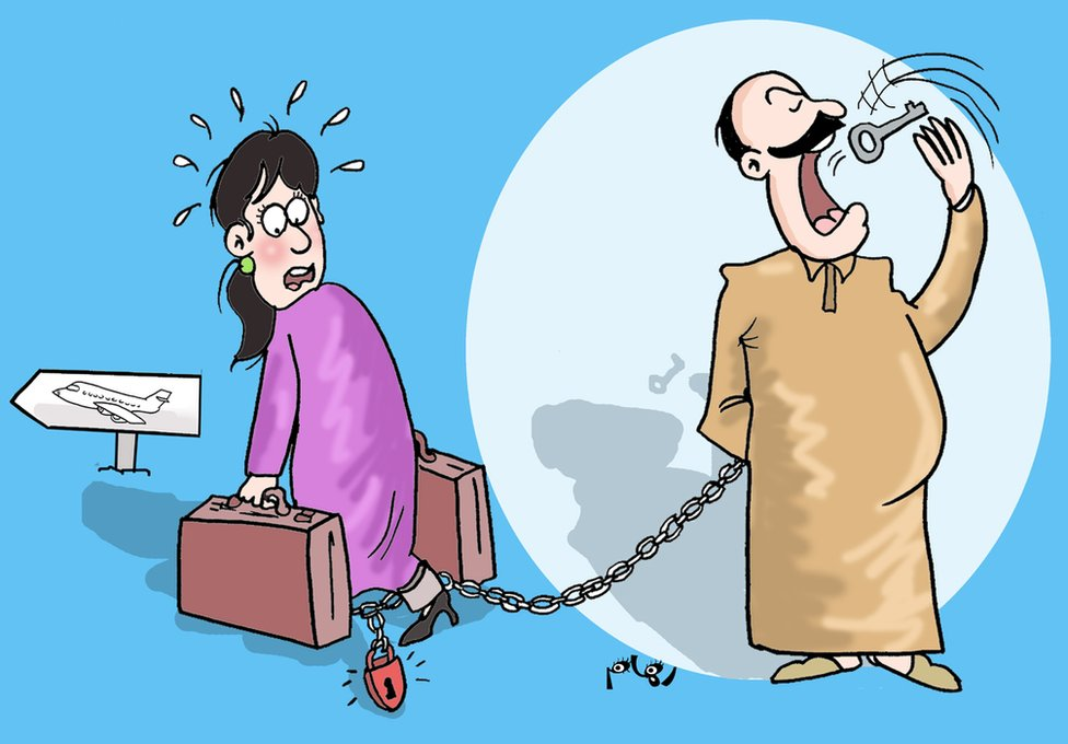 Cartoon by Riham Elhour of man swallowing key to chain preventing woman leaving country