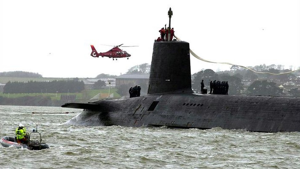 The Royal Navy nuclear submarine HMS Vanguard, arrives at Devonport naval base in Plymouth for refit