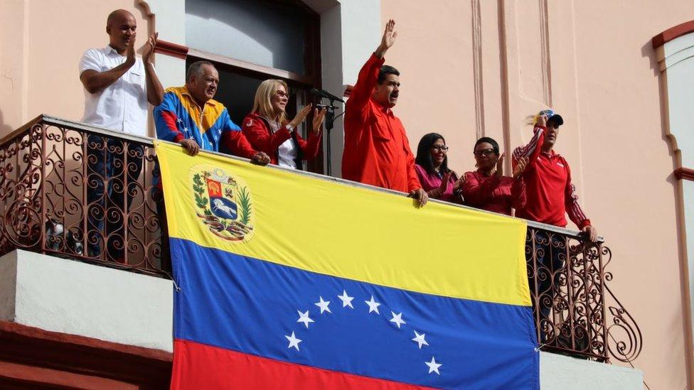 Nicolás Maduro. en el Balcón del Pueblo del Palacio de Miraflores el pasado 23 de enero