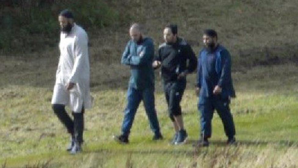 Left to right: Naweed Ali, Tahir Aziz, Mohibur Rahman and Khobaib Hussain walk through Black Hall Park, August 2016