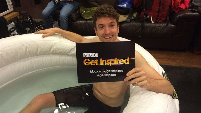 Radio 1 DJ Greg James during his 'Gregathlon' for Sport Relief