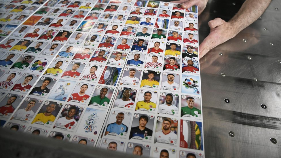 Panini stickers in the factory