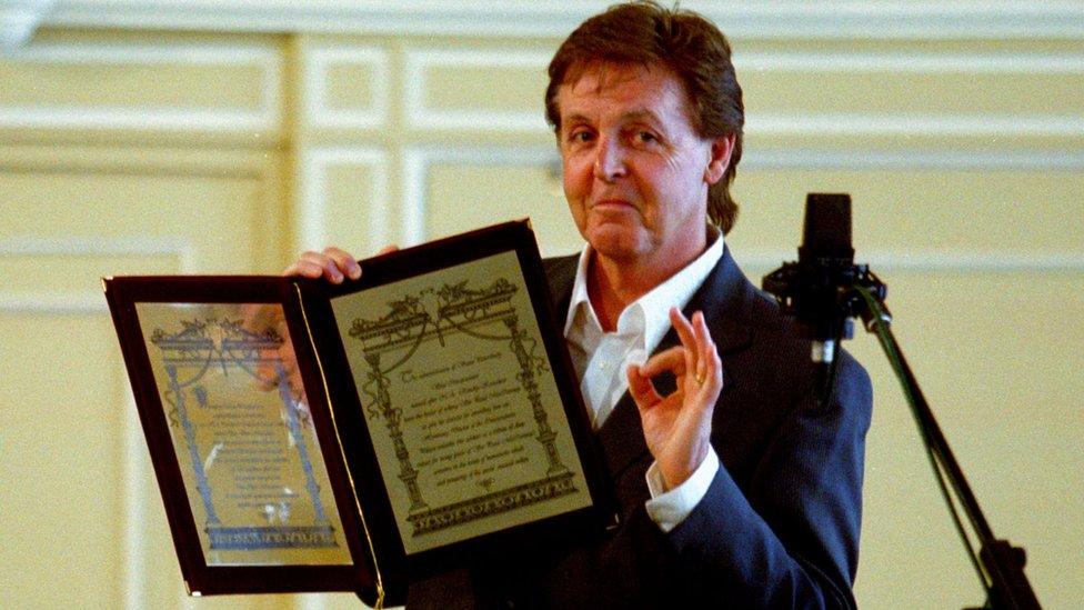 Sir Paul McCartney with Russian award, 2 Jan 03