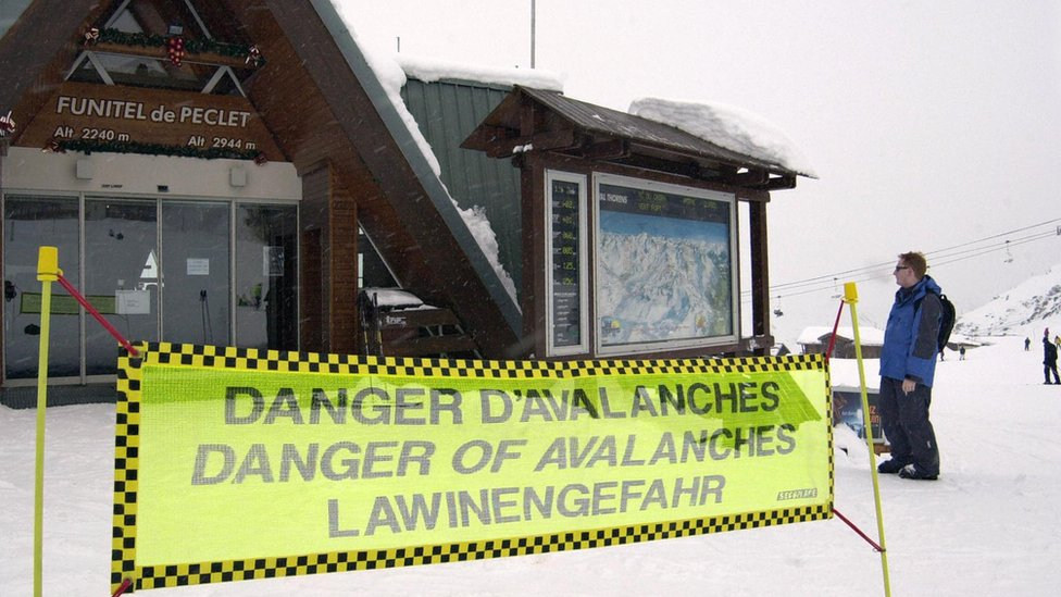 Avalanche warning sign in the Alps