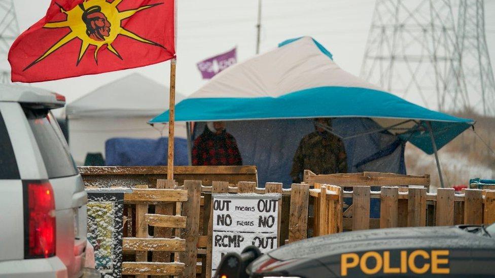 Manifestacion indigena en Canada