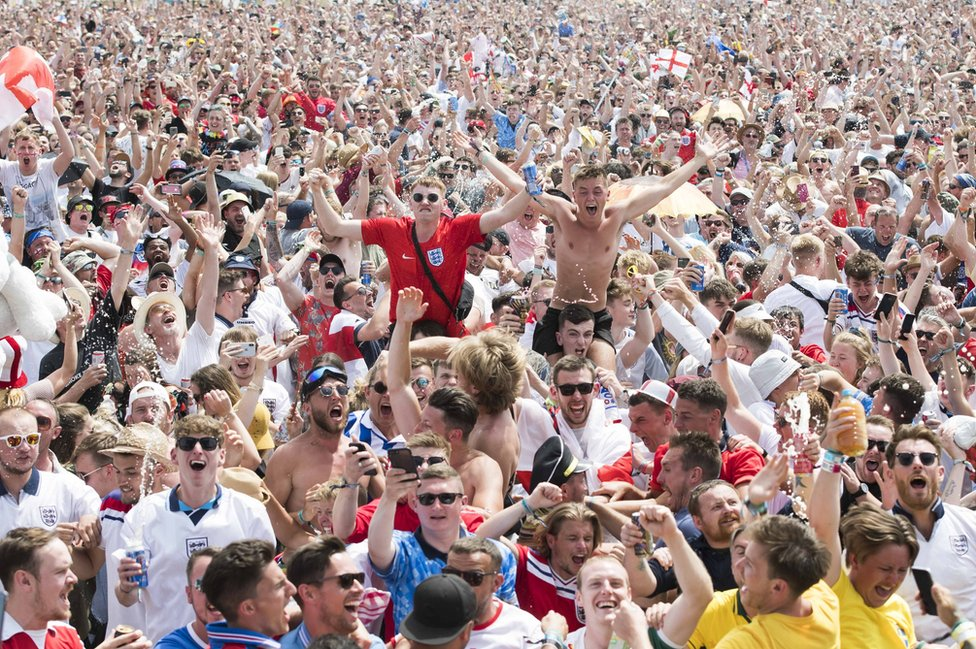 England fans watching the win over Panama at the Isle of Wight festival