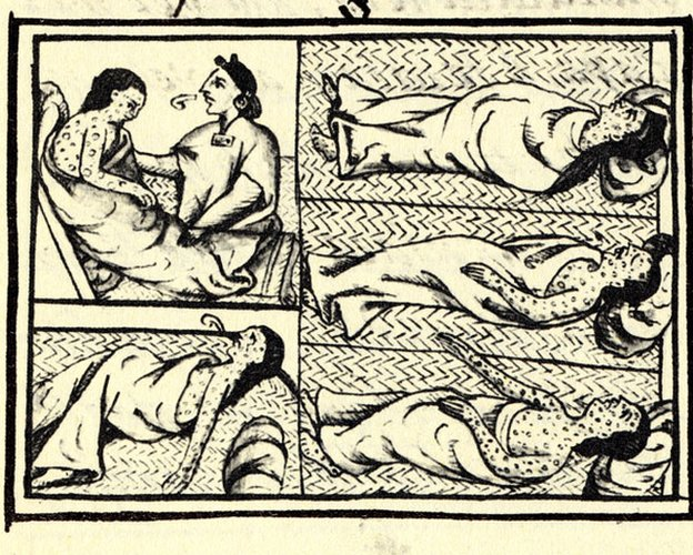 Dibujo que muestra nahuas con viruela de la Historia general de las cosas de Nueva España, el compendio de información sobre los aztecas y los nahuas hecho por el fraile Bernardino de Sahagún.