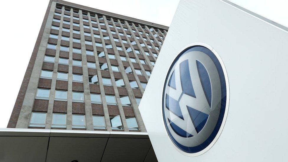 Volkswagen logo outside the VW car factory in Wolfsburg, Germany