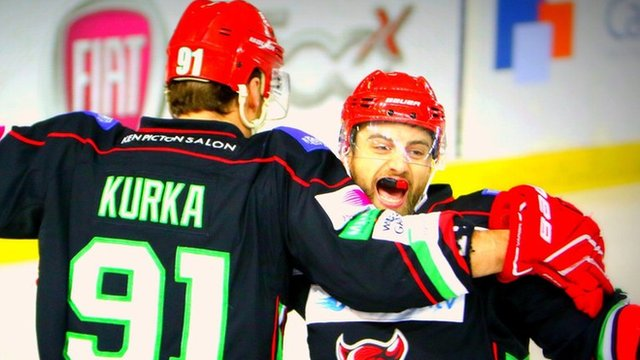 Cardiff Devils celebrate victory over Sheffield Steelers