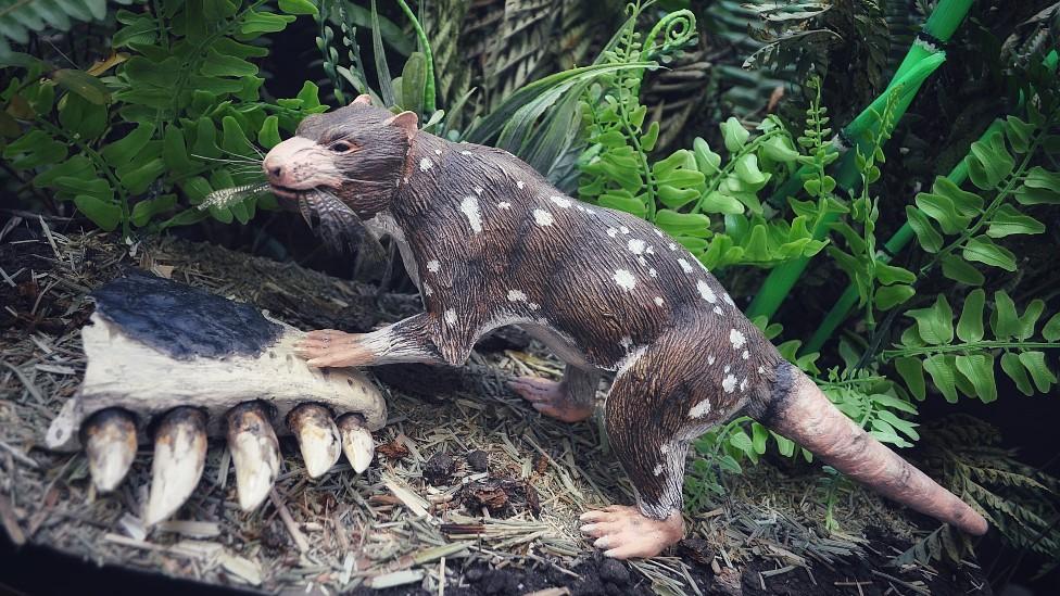 Escultura que representa al nuevo mamífero