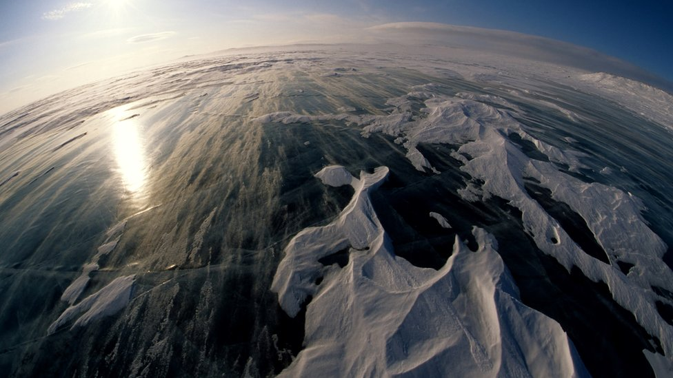 A winter scene on the Arctic ice pack
