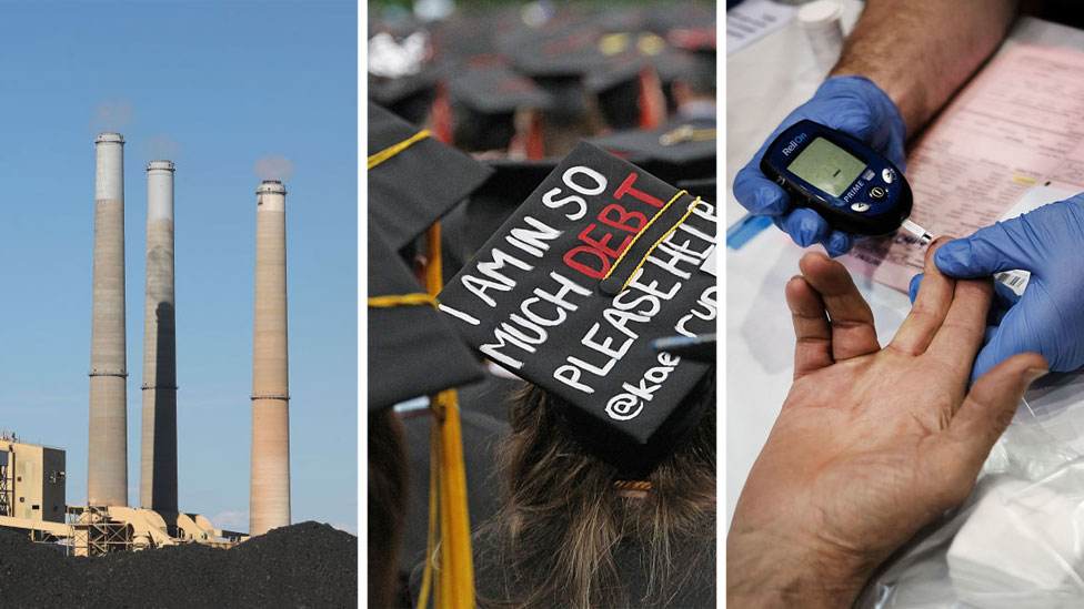 Composite image of coal fired plant, college graduation with hat reading I AM IN SO MUCH DEBT PLEASE HELP, and blood test at doctor's office