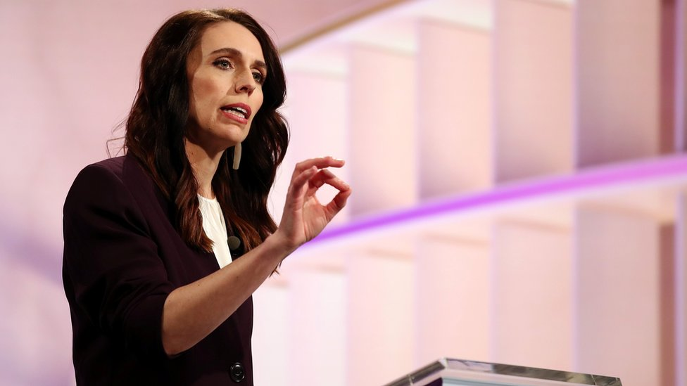 New Zealand Prime Minister Jacinda Ardern participates in a televised debate with National leader Judith Collins at TVNZ in Auckland, New Zealand,
