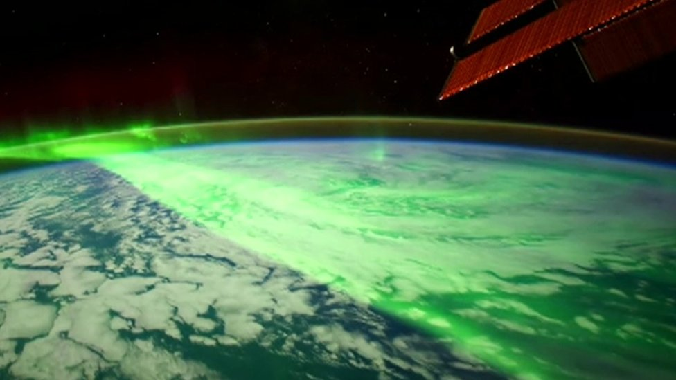 The Aurora Borealis filmed by the ISS.