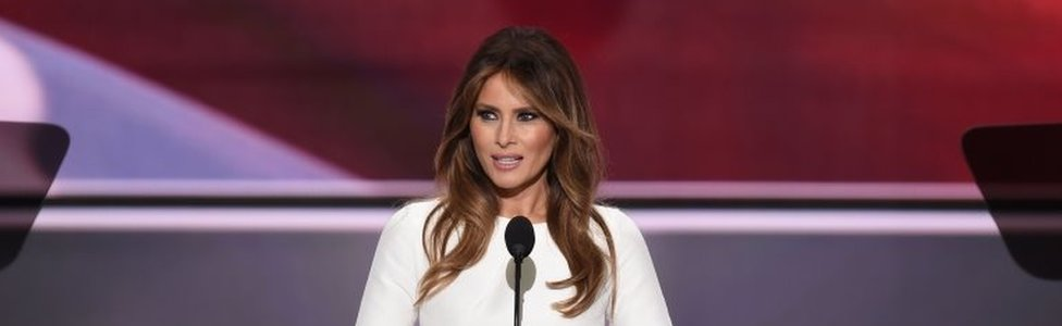 This file photo taken on July 18, 2016 shows Melania Trump, wife of Republican presidential candidate Donald Trump, as she addresses delegates on the first day of the Republican National Convention at Quicken Loans Arena in Cleveland, Ohio.