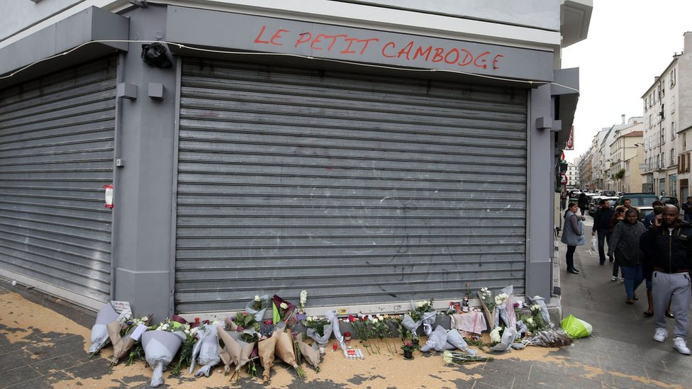 Tributes left outside Le Petit Cambodge, Paris,, following attacks on 13 November 2015