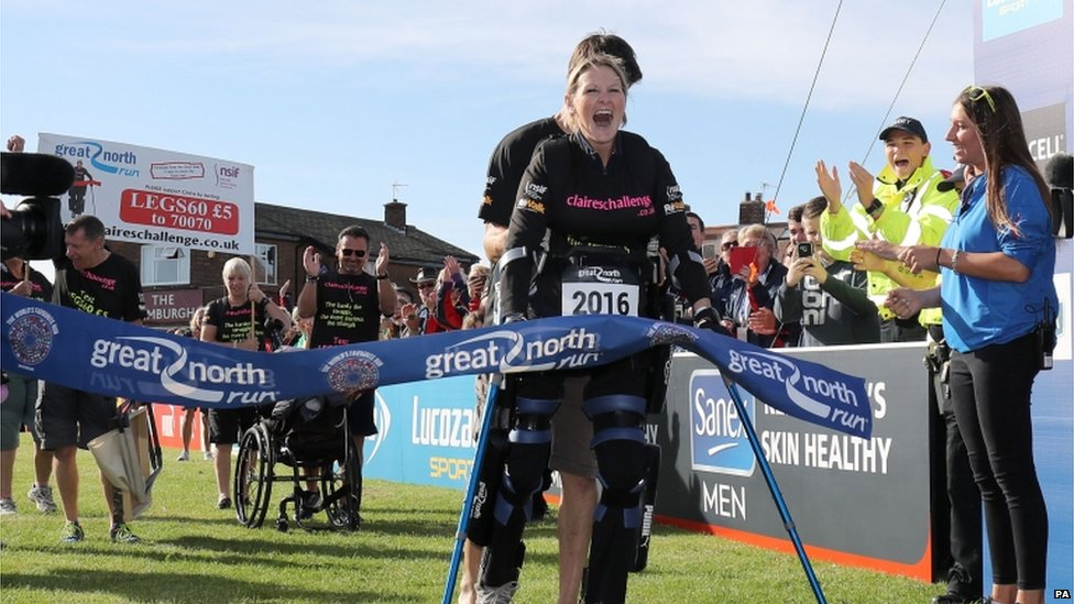 Claire Lomas finishes the Great North Run