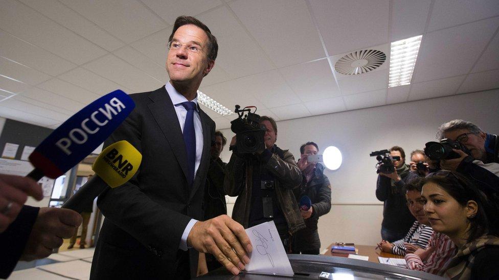 PM Mark Rutte votes in The Hague (7 April)