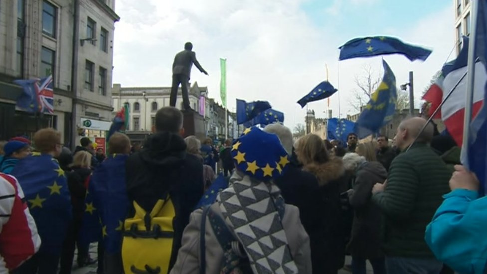 The rally in Cardiff