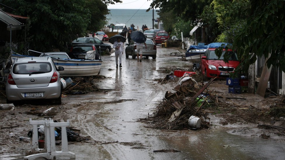 Mud and debris on roads in a suburb of Thessaloniki following flash floods, 7 September 2016