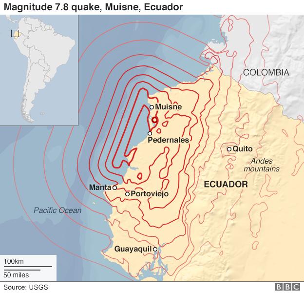 Earthquake zone in Ecuador