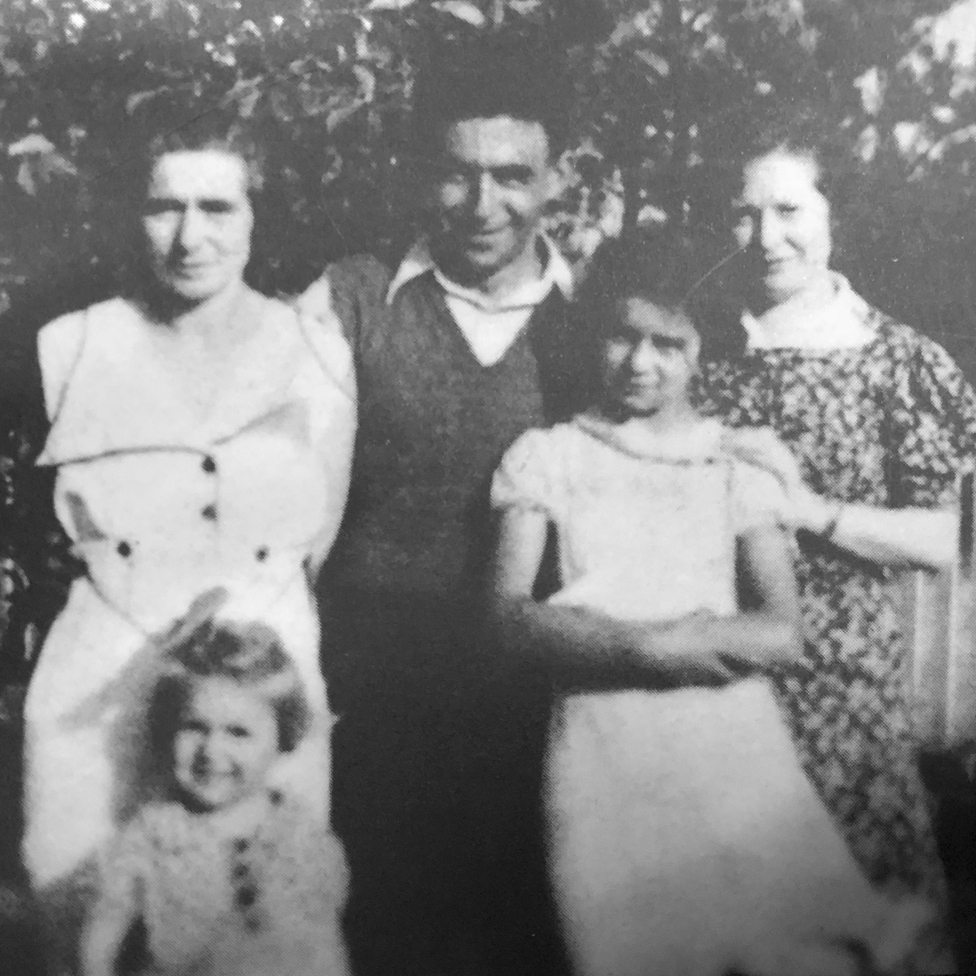 Ruth's family - her mother and younger sister (left), her father, Ruth and an aunt
