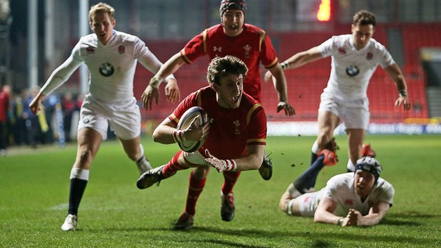Daniel Jones scores a try for Wales U20 against England in the Welsh victory at Ashton Gate