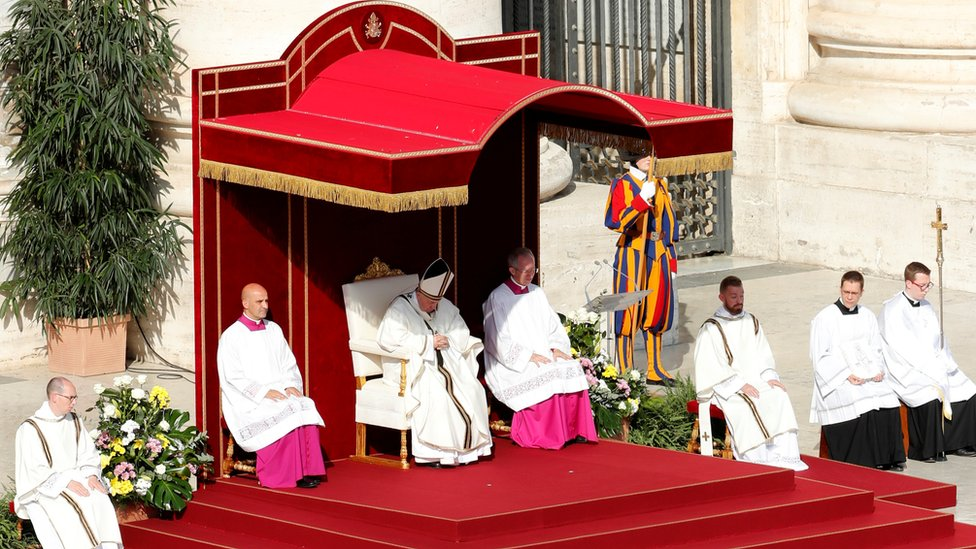 Pope Francis leading the Mass