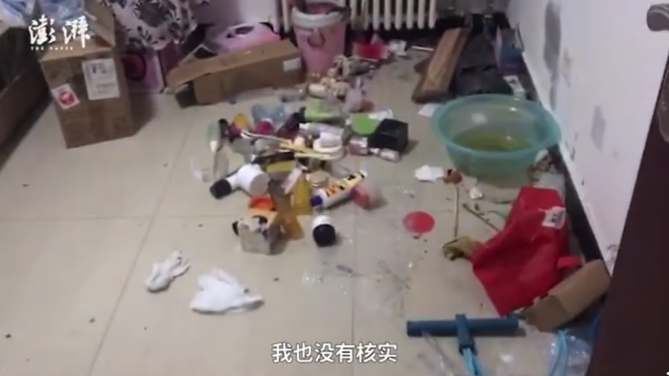Ms Li's apartment showed litter everywhere