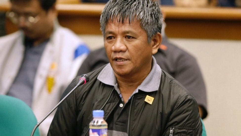 Edgar Matobato appears before the a Philippines senate committee