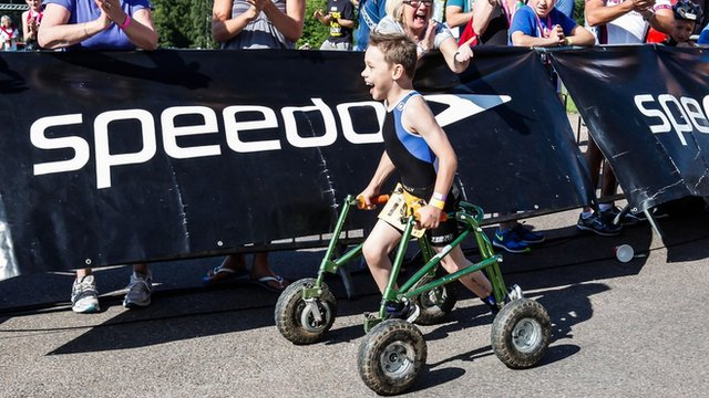 Bailey competing in triathlon