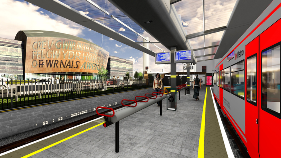 A Metro at the proposed new Flourish stop in Cardiff Bay