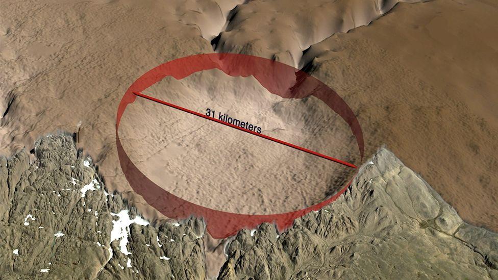 Recreación gráfica del perímetro del que creen es un cráter.