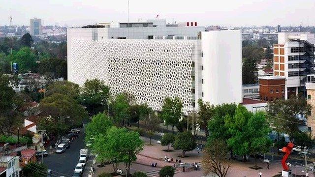 The facade on a building