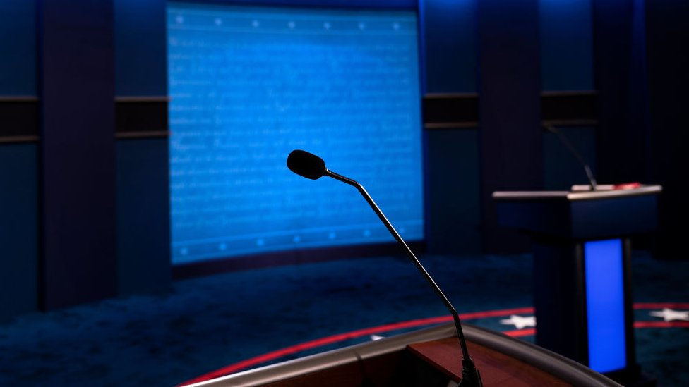 A view of US President Donald Trump's microphone on the debate set at Belmont University on October 21, 2020, in Nashville, Tennessee.