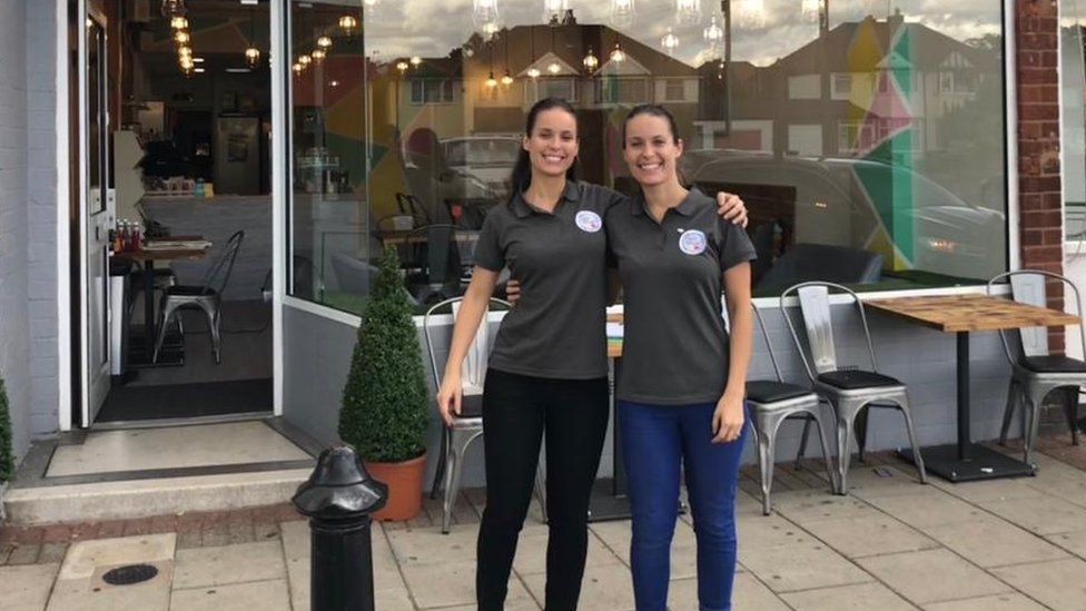 Rebecca Jones [left], pictured with twin sister Natalie Copewell