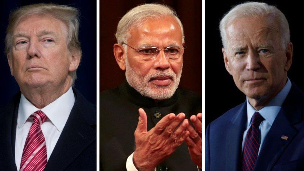 صورة مركبة للرئيس الهندي مودي يتوسك الرئيس الأمريكي ترامب ومنافسه المرشح الديمقراطي جو بايدن
