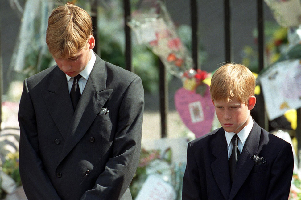 Princes William and Harry after the funeral of Diana, Princess of Wales