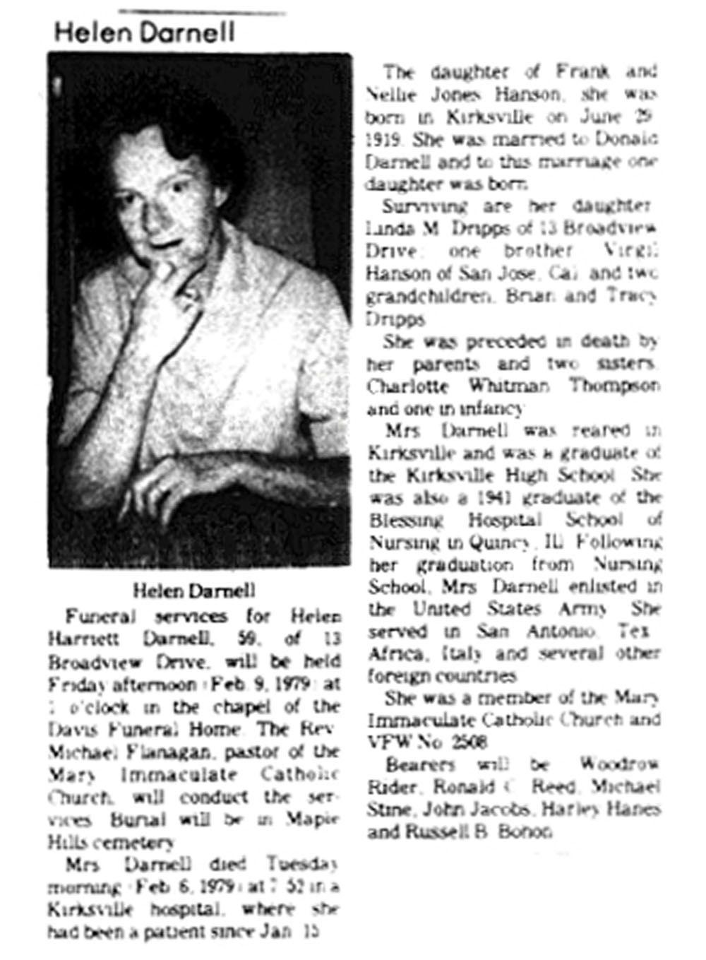 Obituario de Helen Darnell