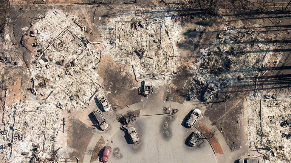 Aerial view of devastation left by wildfires in California