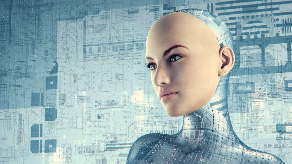 Futuristic female cyborg - stock photo