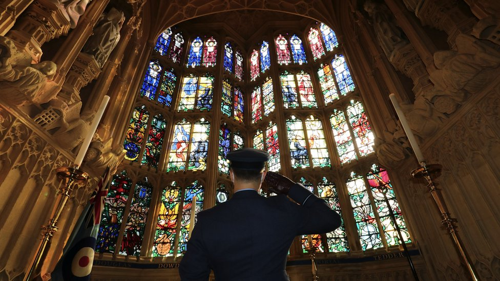 A member of the armed forces attends a service to mark the 80th anniversary of the Battle of Britain at Westminster Abbey on 20 September