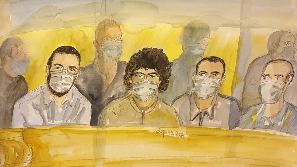 A courtroom sketch made on November 16, 2020, shows the defendants, from left to right