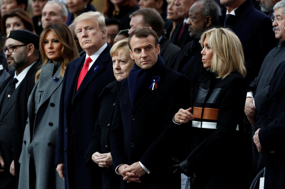 Brigitte Macron, French President Emmanuel Macron, German Chancellor Angela Merkel, US President Donald Trump and first lady Melania Trump