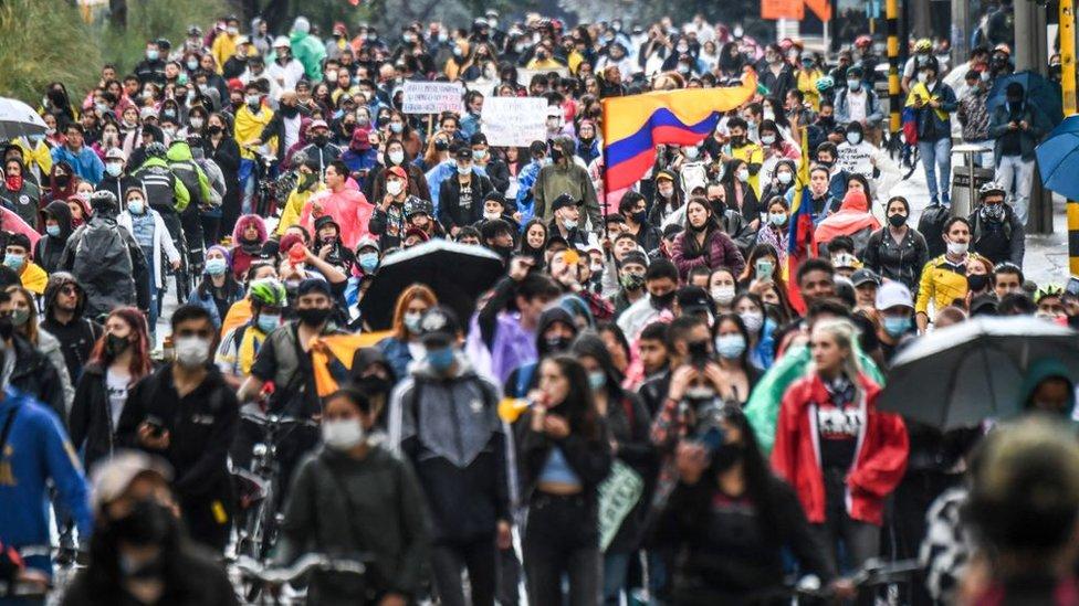 Protestas en Bogotá el 4 de mayo.