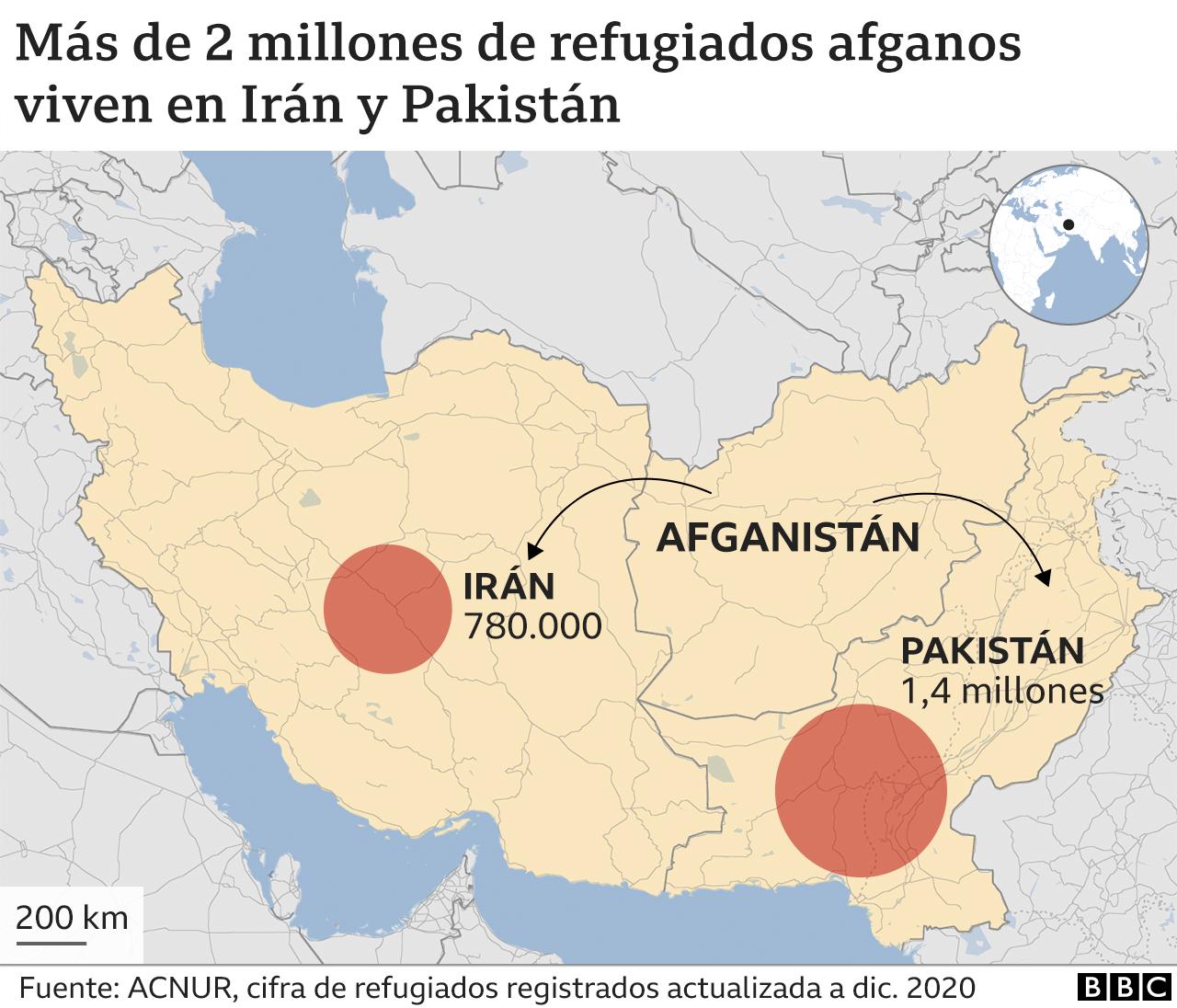 Gráfico con la cifra de refugiados afganos en Irán y Pakistán