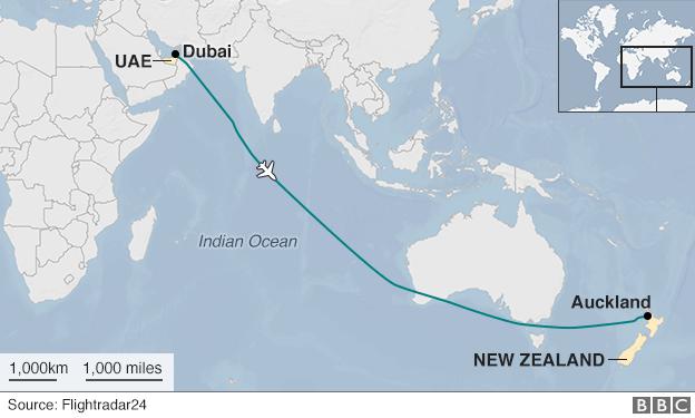 Dubai to Auckland Emirates flight path