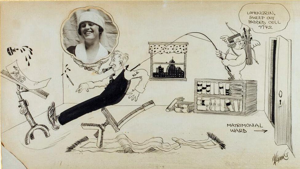 """Rube Goldberg, """"Nunca se me ocurrió (Retrato de Irma el día de la boda)"""", 1916. Tinta sobre papel con fotografía. Ilustraciones Copyright © Rube Goldberg Inc. Todos los derechos reservados. RUBE GOLDBERG® es una marca registrada de Rube Goldberg Inc. Todos los materiales se usan con permiso. rubegoldberg.com."""